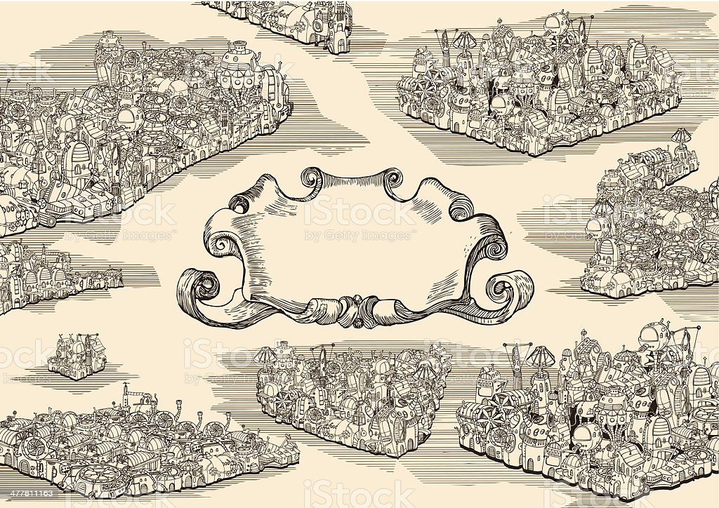 Old steampunk city with banner. vector art illustration
