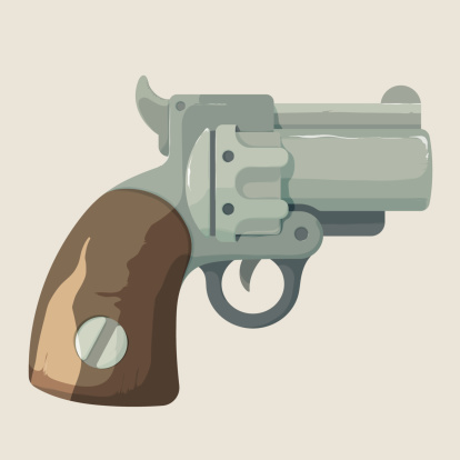 Old, steel, cowboy revolver isolated on light background