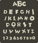 Letters from the Stone Age with cracks, vector font