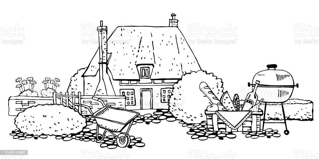 Batu Tua Eropa Rumah Pedesaan Dengan Tanaman Alat Berkebun Keranjang Piknik Anf Panggangan Ilustrasi Gambar Sketsa Vektor Garis Besar Fasad Rumah Pagar Kaleng Penyiraman Dan Sepatu Bot Ilustrasi Stok Unduh Gambar