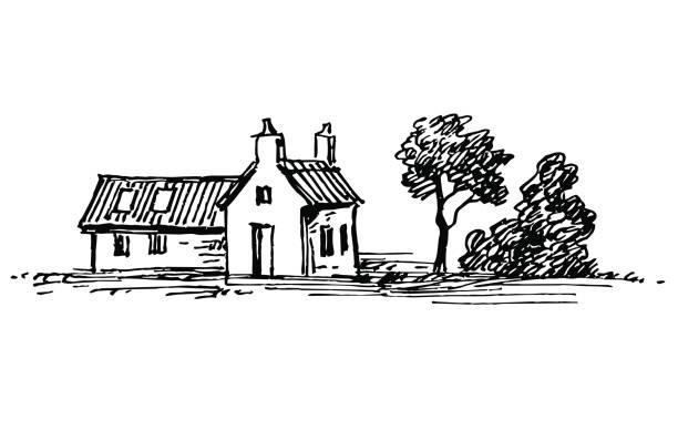 altes steinhaus. - landhaus stock-grafiken, -clipart, -cartoons und -symbole