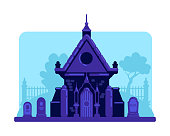 Old stone vault in cemetery flat color vector illustration. Tombstones and crypt building. Spooky night graveyard 2D cartoon landscape with gravestones and trees on background