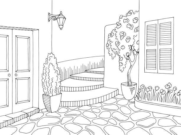 ilustrações de stock, clip art, desenhos animados e ícones de old street graphic black white city landscape sketch illustration vector - ivy building