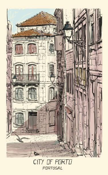 ilustrações de stock, clip art, desenhos animados e ícones de old street in porto, portugal - douro