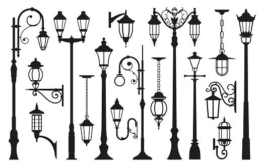 Old street lamp black silhouette, city vintage