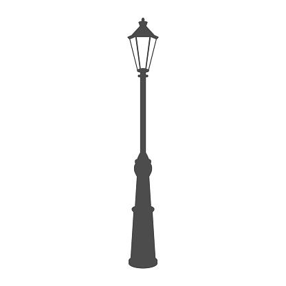 old street luminous lantern isolated on white background. Vector illustration.