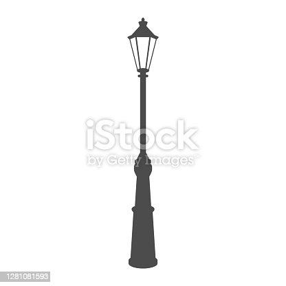 istock old street luminous lantern isolated on white background. Vector illustration. 1281081593