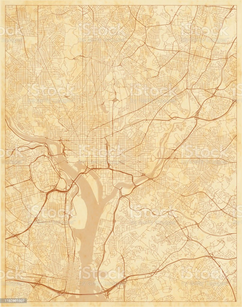 Old Street Map Washington Dc District Of Columbia Us Stock Vr ... on