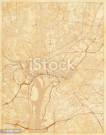 Old street map, Washington DC, District of Columbia, US