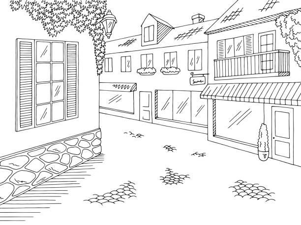ilustrações de stock, clip art, desenhos animados e ícones de old street road graphic black white city landscape sketch illustration vector - ivy building