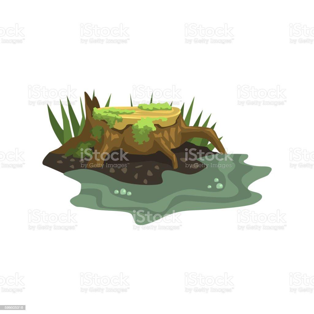 Old Stump Submerged In Water Jungle Landscape Element vector art illustration