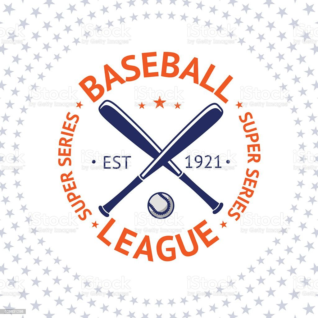 Old style Baseball Label with ball and bats. Vector vector art illustration
