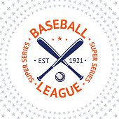 Old style Baseball Label with ball and bats. Vector