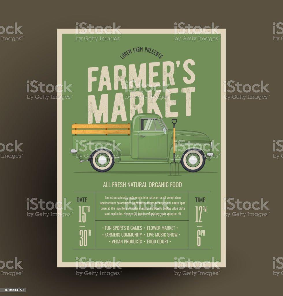 Old Style Farmer's Pickup Truck. Vector Illustration. vector art illustration
