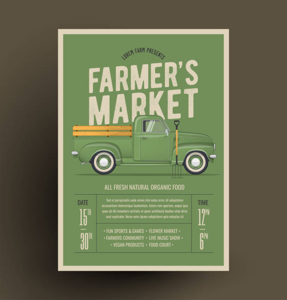 Old Style Farmer's Pickup Truck. Vector Illustration. Farmer's Market Flyer Poster Invitation Template. Based On Old Style Farmer's Pickup Truck. Vector Illustration. farmer's market stock illustrations