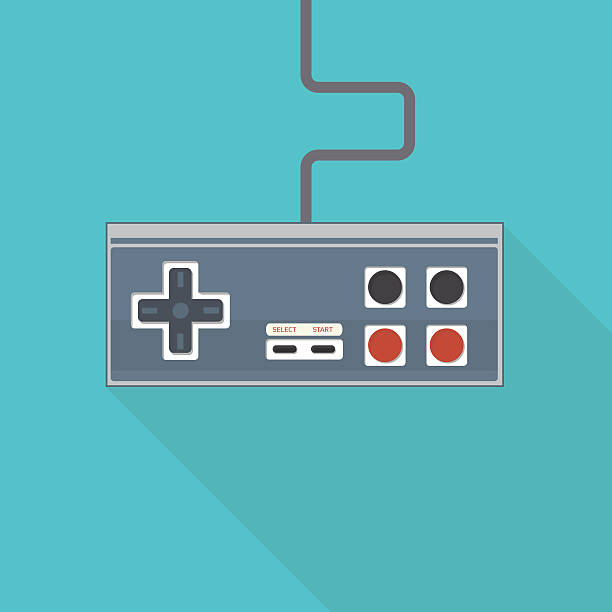 Old style gamepad Classic flat style vector illustration of rectangular joystick like gamepad with analog buttons and stick with wire. game controller stock illustrations