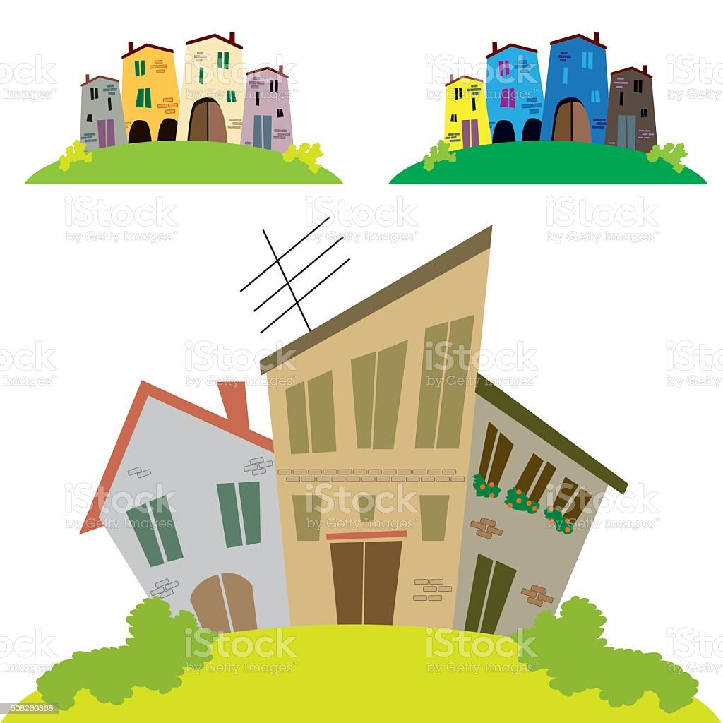 poor house clipart. old style houses set vector art illustration poor house clipart