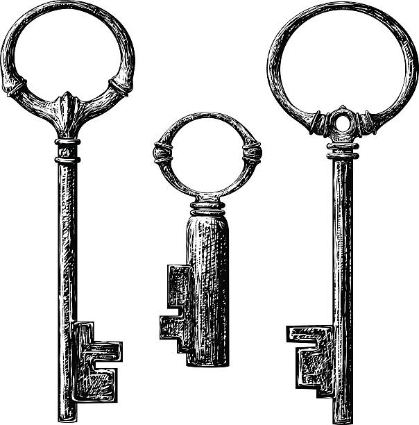old style key old style key collection . etching vector drawing etching stock illustrations