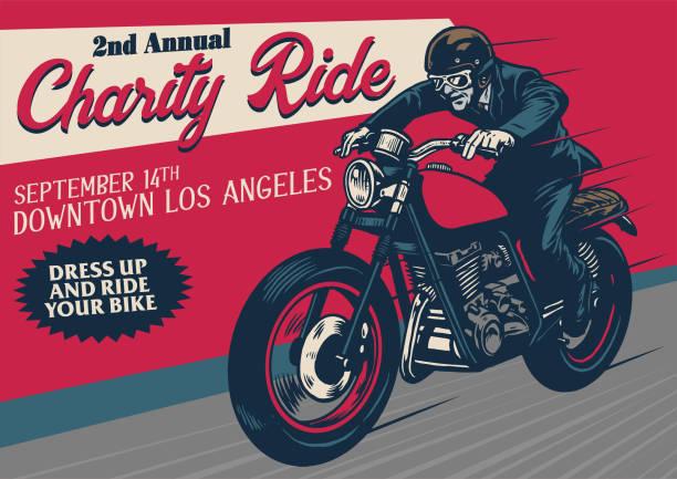 ilustrações, clipart, desenhos animados e ícones de antigo cartaz de evento de motocicleta de estilo - moto