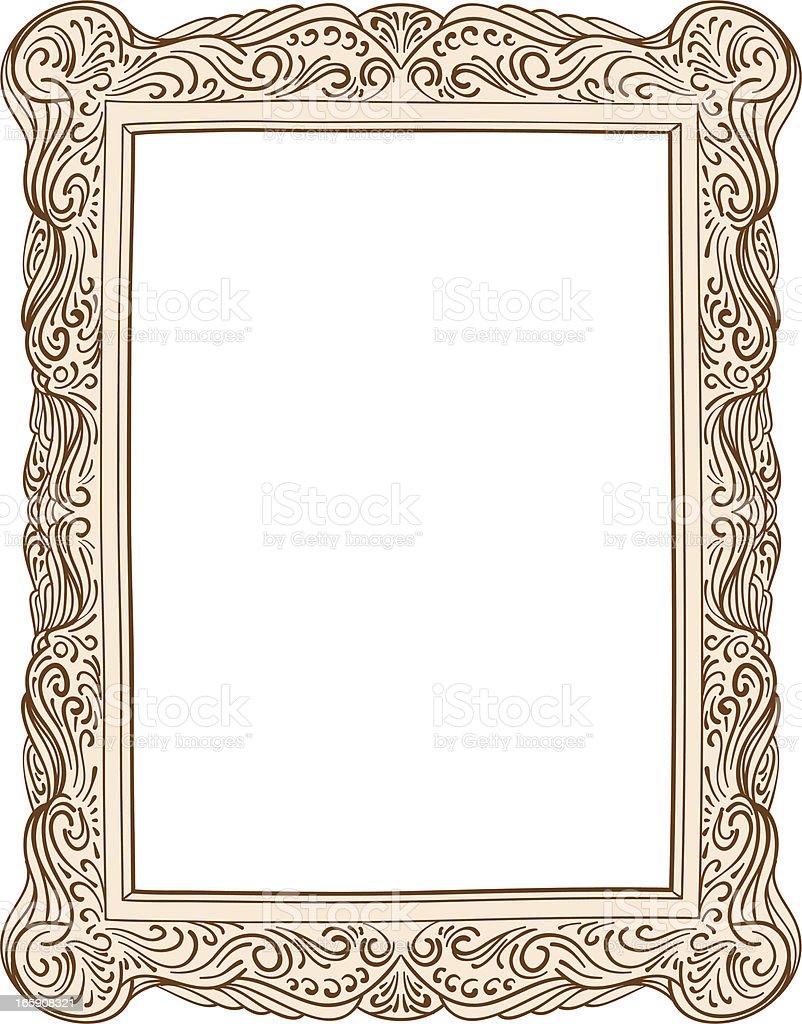Old style ornate frame vector art illustration