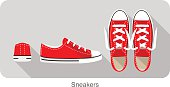 old style sport sneakers shoe, top view, side view, back view