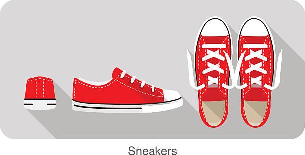 ilustrações, clipart, desenhos animados e ícones de velho estilo esportivo calçado para tênis - calçados