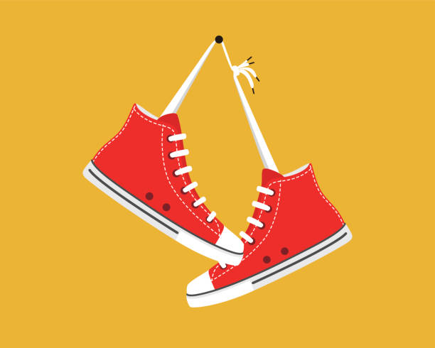 old style sport sneakers shoes hanging - shoes fashion stock illustrations, clip art, cartoons, & icons