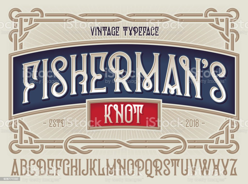 Old style typeface 'Fisherman's Knot' with beautiful decorative vintage frame ornate. vector art illustration