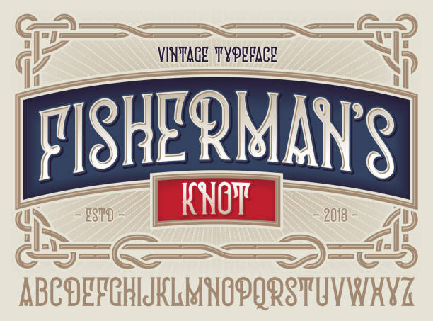 "old style typeface ""fisherman's knot"" with beautiful decorative vintage frame ornate. - alphabet borders stock illustrations"