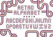Old Style Vector Alphabet. Retro Type Font Disco, Vintage Typography Poster. Stripe, Geometric Letters.