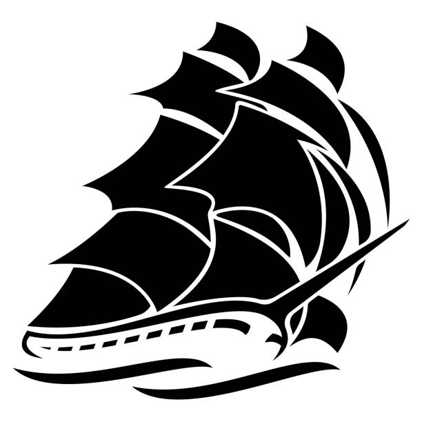 Old Tall Sailing Ship Vector Graphic Illustration Old tall sailing ship vector graphic line drawing illustration, clean lines, isolated, a simple yet sophisticated design pirate ship stock illustrations