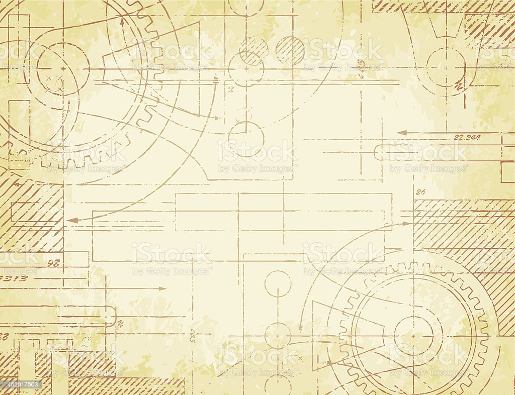Old Technical Drawing vector art illustration