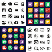 Old Technology All in One Icons Black & White Color Flat Design Freehand Set
