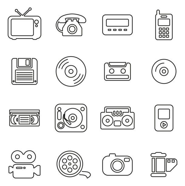 ilustrações, clipart, desenhos animados e ícones de tecnologia antiga ou ícones vintage tecnologia fina linha vetor ilustração conjunto - cd