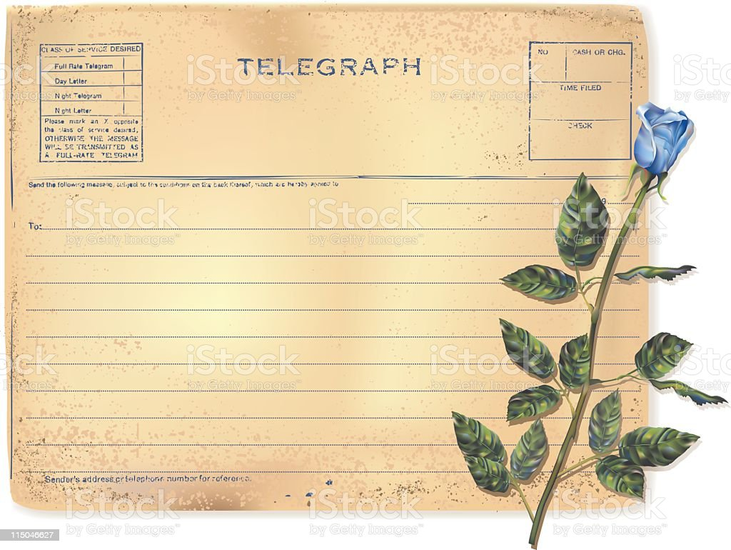 Old Telegram and Rose royalty-free stock vector art