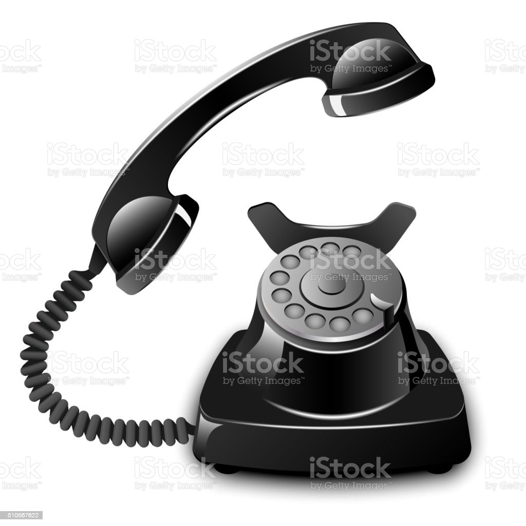 Old telephone with removed receiver vector art illustration