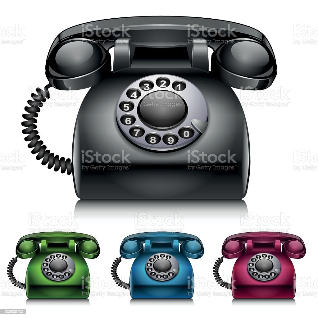 Old telephones isolated on white background vector art illustration