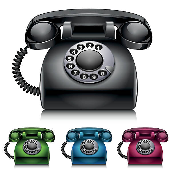 Old telephones isolated on white background vector art illustration