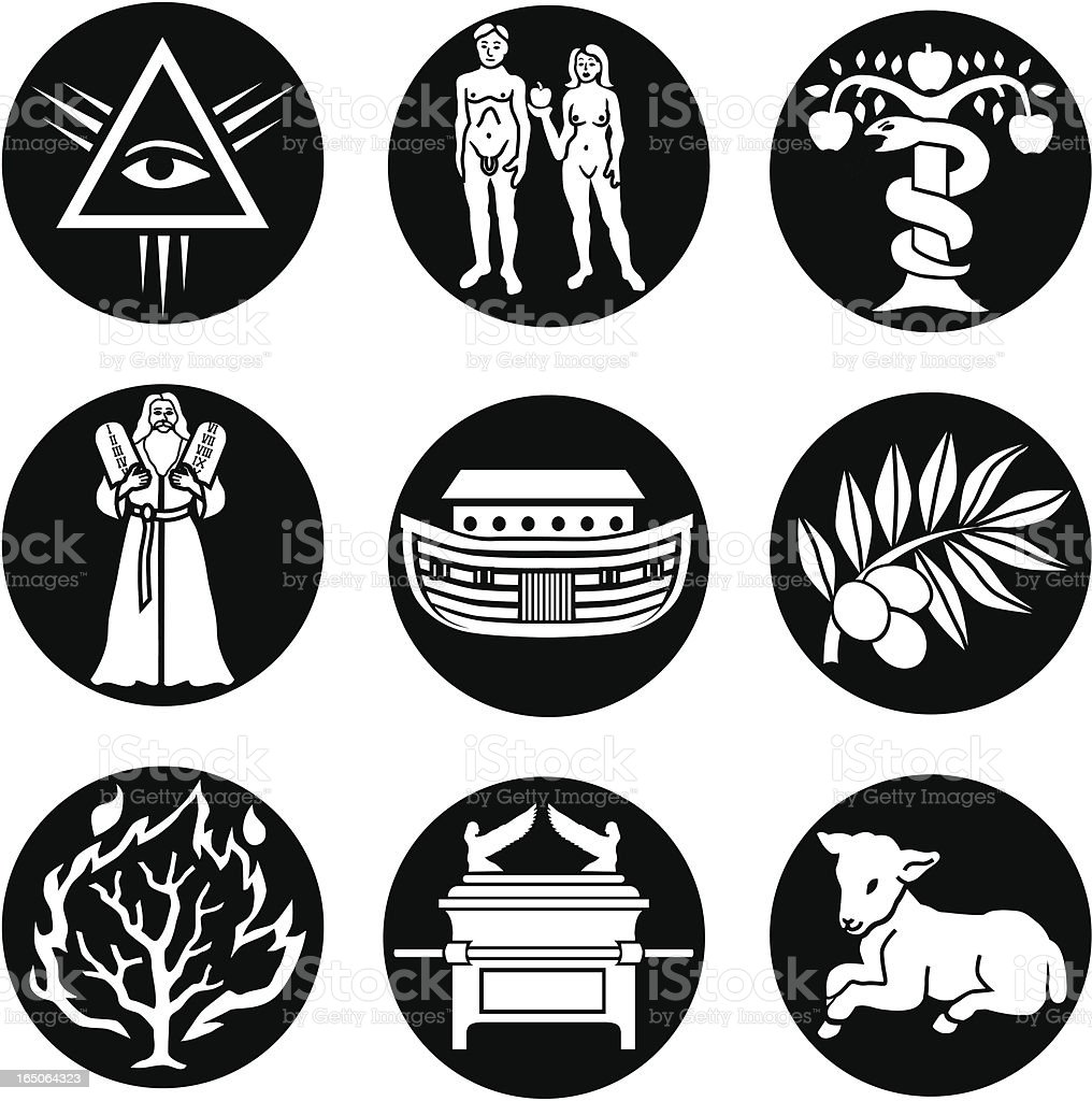 Old Testament icons reversed vector art illustration