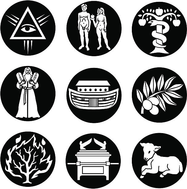 Old Testament icons reversed vector art illustration