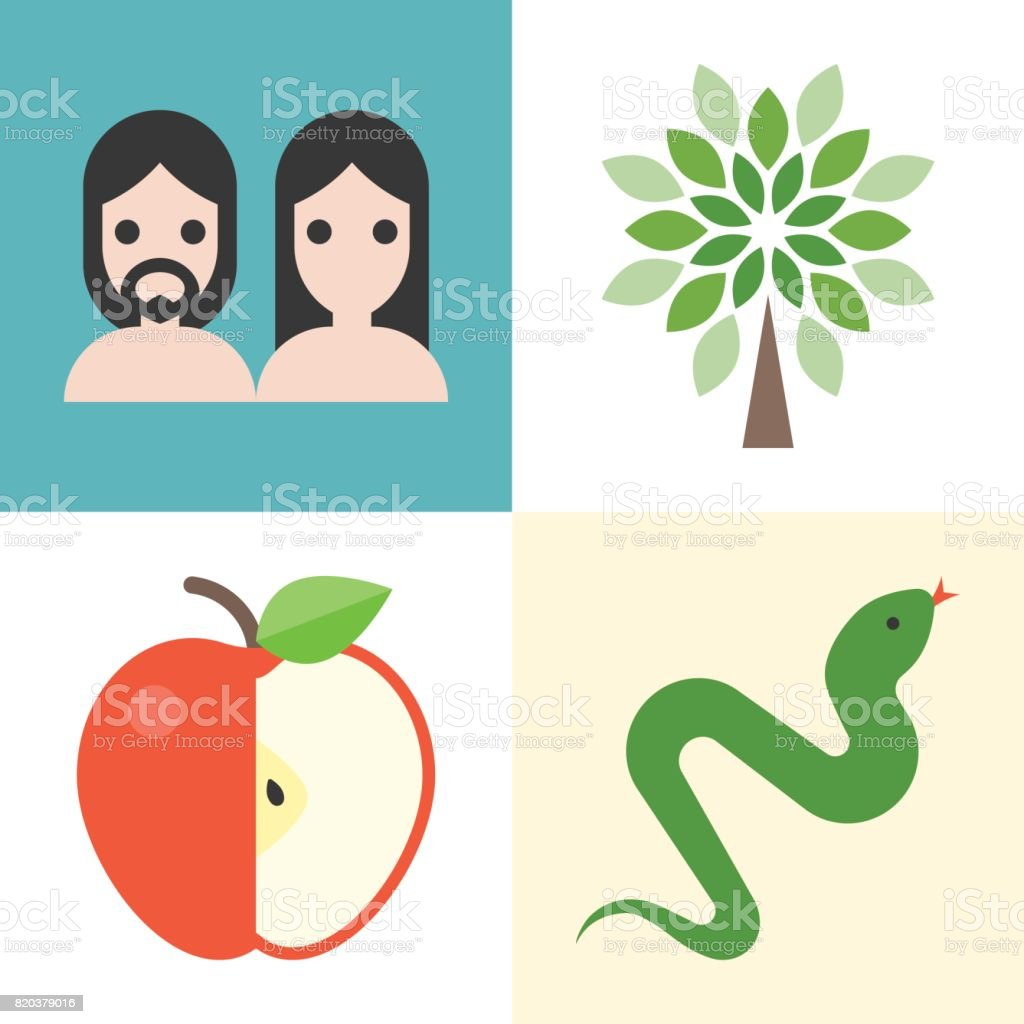 Old testament icons set 1 vector art illustration