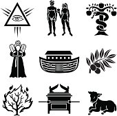 Vector icons with a Biblical Old Testament theme.