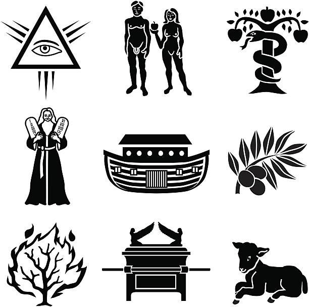Old testament icons vector art illustration