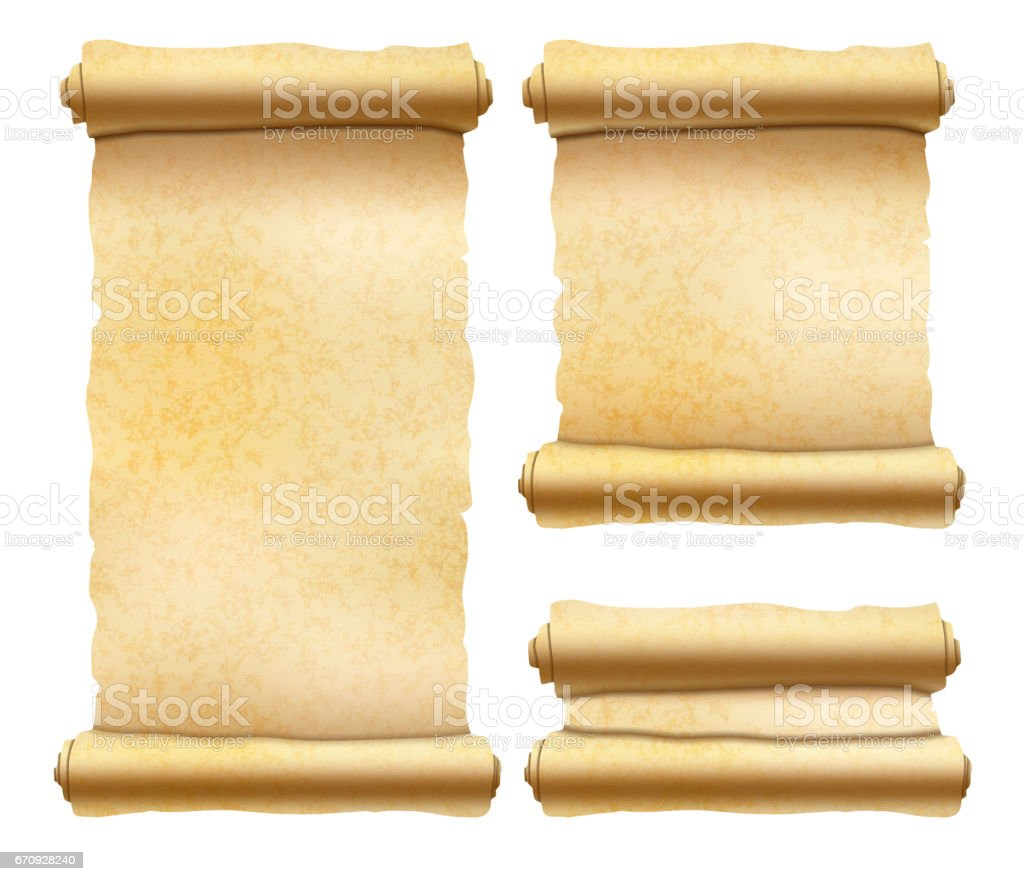 Old textured papyrus scrolls different shapes isolated on white vector art illustration