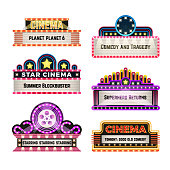 Old theater movie neo light signboards in 1930s retro style. Blank cinema and casino vector banners. Signboard for cinema billboard, comedy and tragedy, superhero and blockbuster illustration