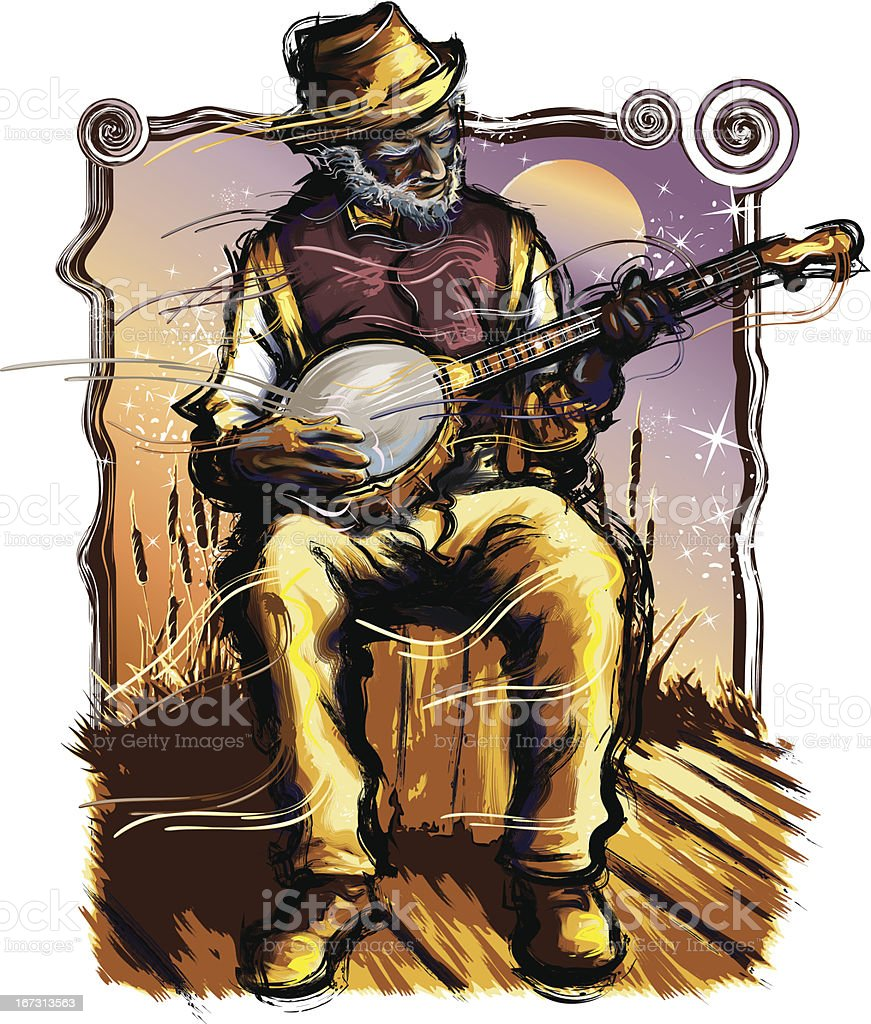 Old Time Music - Banjo Player vector art illustration