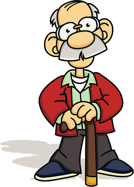 old timer with a cane - old man shoes stock illustrations, clip art, cartoons, & icons