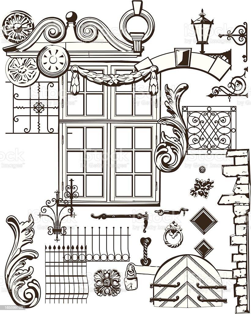 Old Town Elements vector art illustration
