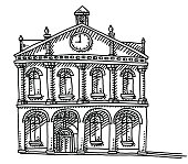 Old Town Hall Building Clock Drawing