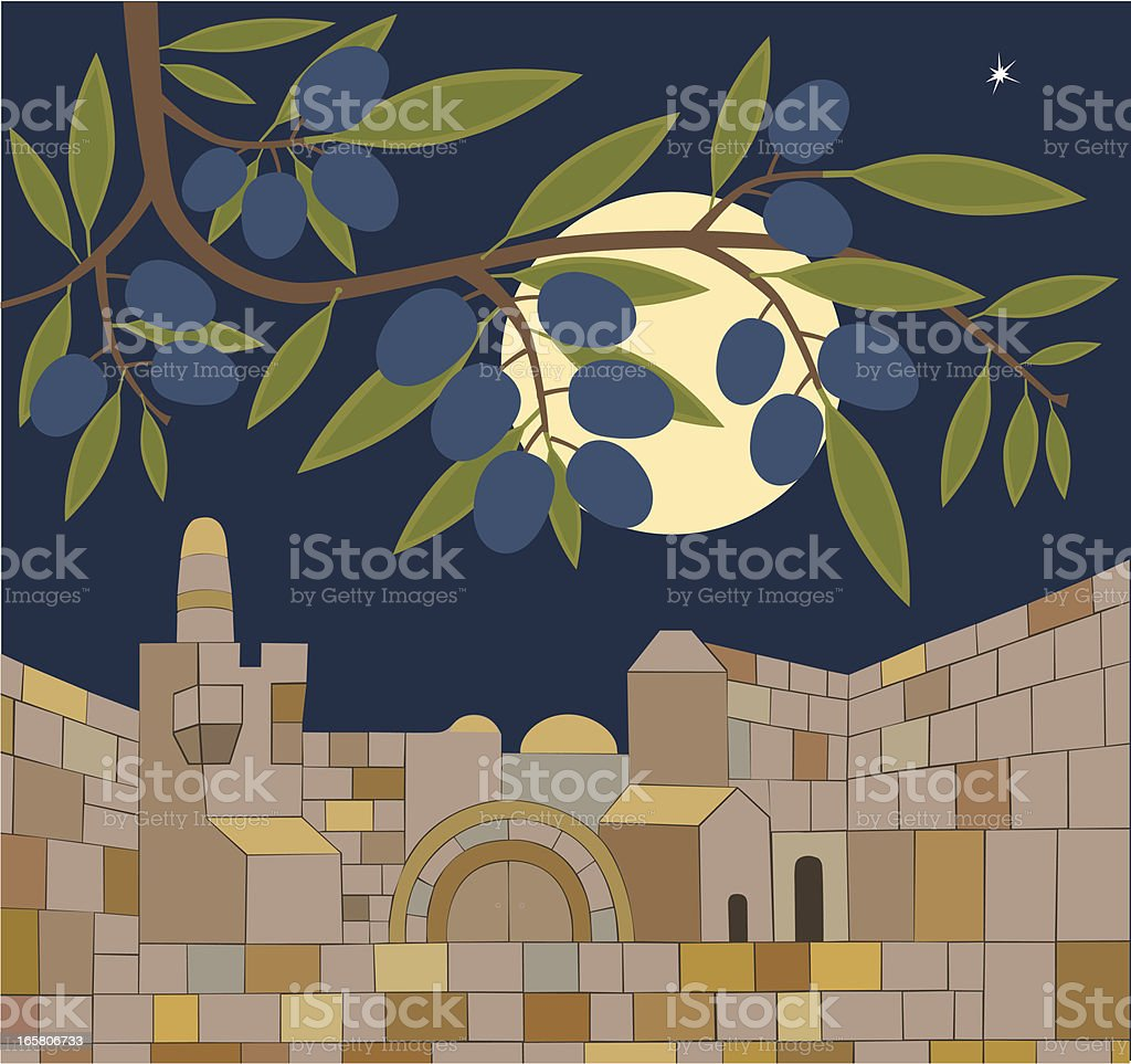 Old Town of Jerusalem At Sabbath Night royalty-free stock vector art